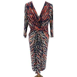 ANNE KLEIN Print Gathered Jersey Dress 14